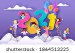 2021 new year card. kids... | Shutterstock .eps vector #1864513225
