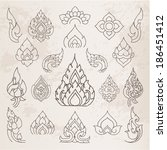 Doodle Thai arts pattern and  design elements and page decoration - lots of useful elements to embellish your layout, Vector illustrator