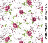 roses pattern with leaves ditsy ...   Shutterstock .eps vector #1864524172