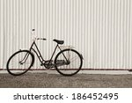 rusted bike on a metallic wall. ... | Shutterstock . vector #186452495