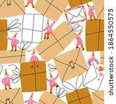 little gnomes packing a bunch...   Shutterstock . vector #1864550575