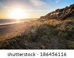landscape vibrant sunset over...   Shutterstock . vector #186456116