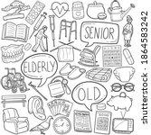 senior people doodle icon set.... | Shutterstock .eps vector #1864583242