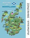 Cartoon Map Of Scotland. Icons...
