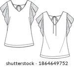 woman blouse sketch  blouse cad ... | Shutterstock .eps vector #1864649752