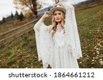 Adorable Woman Posing At The...