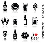 Stock vector beer vector icons set bottle glass pint 186466178