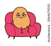 couch potato  funny cartoon... | Shutterstock .eps vector #1864679332