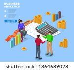 office workers solve everyday... | Shutterstock .eps vector #1864689028
