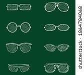 vector set of hand drawn chalk... | Shutterstock .eps vector #1864784068