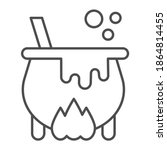 cauldron with magic potion on... | Shutterstock .eps vector #1864814455