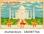 illustration depicting the culture of Uttar Pradesh, India