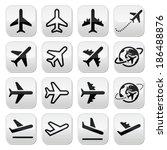 plane  flight  airport buttons... | Shutterstock .eps vector #186488876