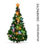 christmas tree with cartoon...   Shutterstock .eps vector #1864896745