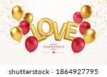 happy valentines day gold and... | Shutterstock .eps vector #1864927795