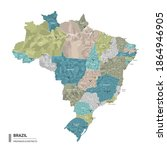 brazil higt detailed map with... | Shutterstock .eps vector #1864946905