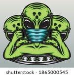 gangster alien wearing a mask.... | Shutterstock .eps vector #1865000545
