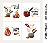 mulled wine set. cocktail with...   Shutterstock .eps vector #1865061352