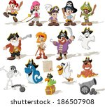 Group Of Cartoon Pirates With...