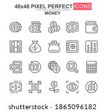 money thin line icon set....
