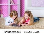 children using modern tablet pc ... | Shutterstock . vector #186512636