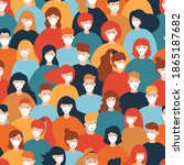 seamless pattern of people...   Shutterstock .eps vector #1865187682