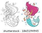 cute little mermaid with long... | Shutterstock .eps vector #1865194945