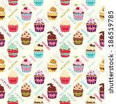 delicious colorful cupcakes... | Shutterstock .eps vector #186519785