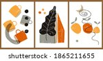 a set of three colorful...   Shutterstock .eps vector #1865211655