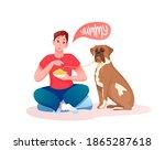 feed dog vector illustration.... | Shutterstock .eps vector #1865287618