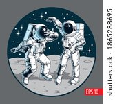 space dance party. astronauts... | Shutterstock .eps vector #1865288695