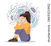 anxiety  woman fears and... | Shutterstock .eps vector #1865321902