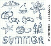 summer doodles set | Shutterstock .eps vector #186532202