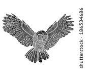 owl flying black and white...   Shutterstock .eps vector #186534686