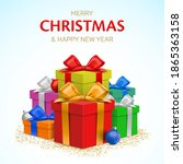 christmas greeting card vector... | Shutterstock .eps vector #1865363158