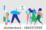 women attracted to promotions ... | Shutterstock .eps vector #1865372905