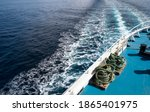 Ocean trail waves of cruise ship . Traveling and cargo shipping concept image.