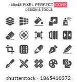 design and tools glyph icon set....