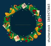 Christmas Wreath Of Holly With...
