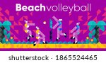 vector illustration. beach... | Shutterstock .eps vector #1865524465