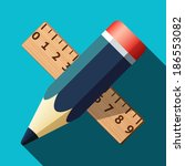 pencil and ruler icon with long ...