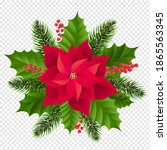 red poinsettia isolated with... | Shutterstock .eps vector #1865563345
