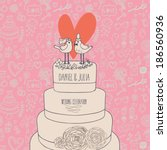 stylish wedding invitation.... | Shutterstock .eps vector #186560936