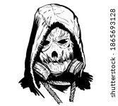 scarecrow head mask. line... | Shutterstock .eps vector #1865693128