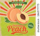 Colorful Vintage Peach Label...