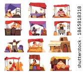 asian market cartoon set of... | Shutterstock .eps vector #1865818318