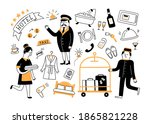 hotel services and hotel staff. ...   Shutterstock .eps vector #1865821228