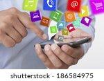 exchange apps with a smart phone | Shutterstock . vector #186584975