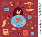 set of self care vector icons... | Shutterstock .eps vector #1865873662