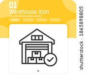 warehouse icon with checkmark...
